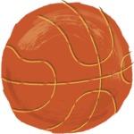 Watercolor Cartoon School Icons Bundle - Colorful Watercolor Basketball Ball Illustration