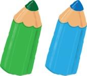 Watercolor Cartoon School Icons Bundle - Watercolor Colorful Vector Pencils Graphic