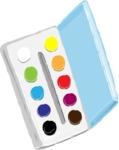 Watercolor Cartoon School Icons Bundle - Colorful Watercolor Paint Palette Illustration