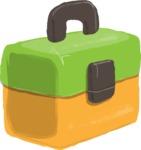 Watercolor Cartoon School Icons Bundle - Watercolor School Lunch Box Illustration