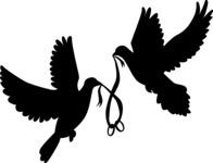 Doves Holding Rings