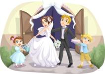 Wedding Couple with Kids