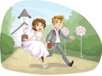 Bride and Groom Running Away