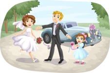 Bride, Groom, and Flower Girl Outdoors