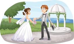 Bride and Groom Next to Gazebo