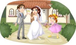 Wedding Couple Outside House