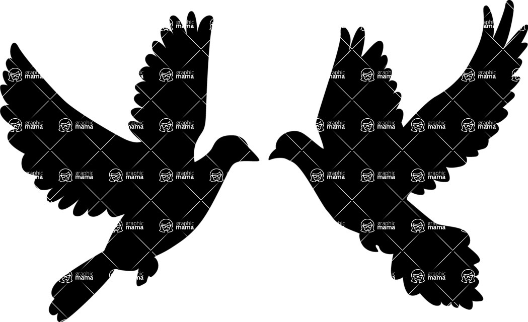 Wedding Vectors - Mega Bundle - Doves Silhouette