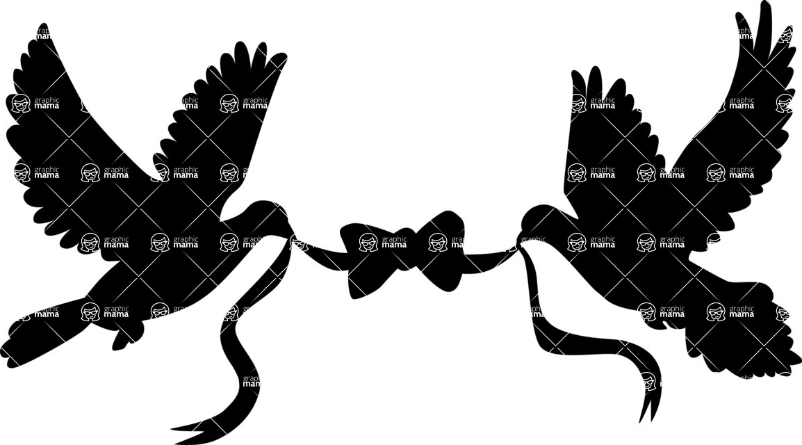 Wedding Vectors - Mega Bundle - Doves Holding Ribbon