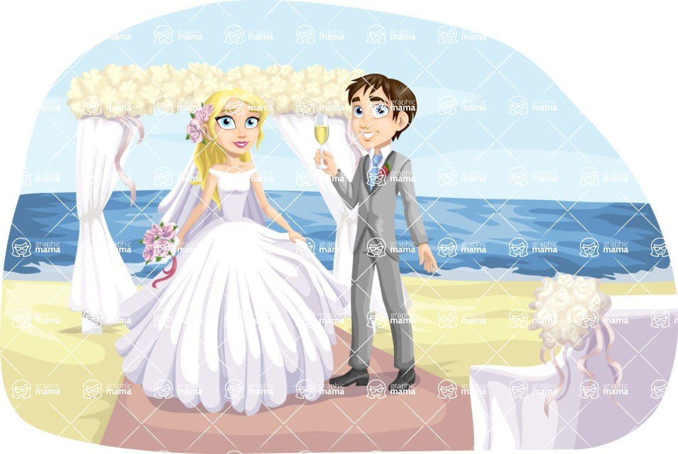Wedding Vectors - Mega Bundle - Beach Wedding at the Altar