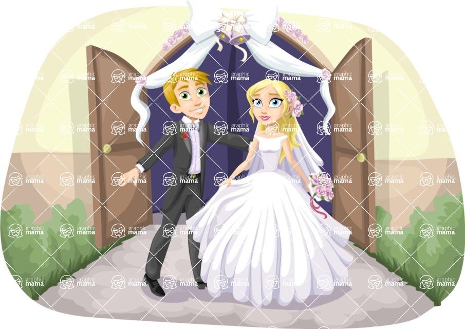 Wedding Vectors - Mega Bundle - Bride and Groom at Gate