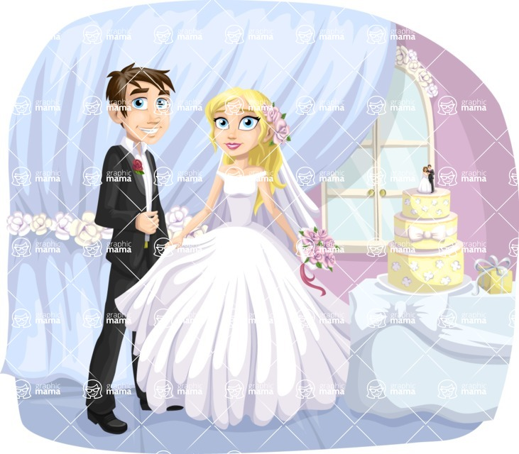 Wedding Vectors - Mega Bundle - Bride and Groom with Wedding Cake