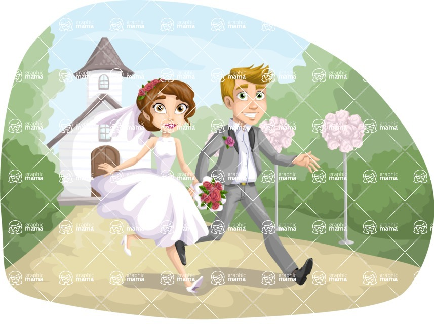 Surprising Bride And Groom Running Away Graphicmama Graphicmama Download Free Architecture Designs Scobabritishbridgeorg