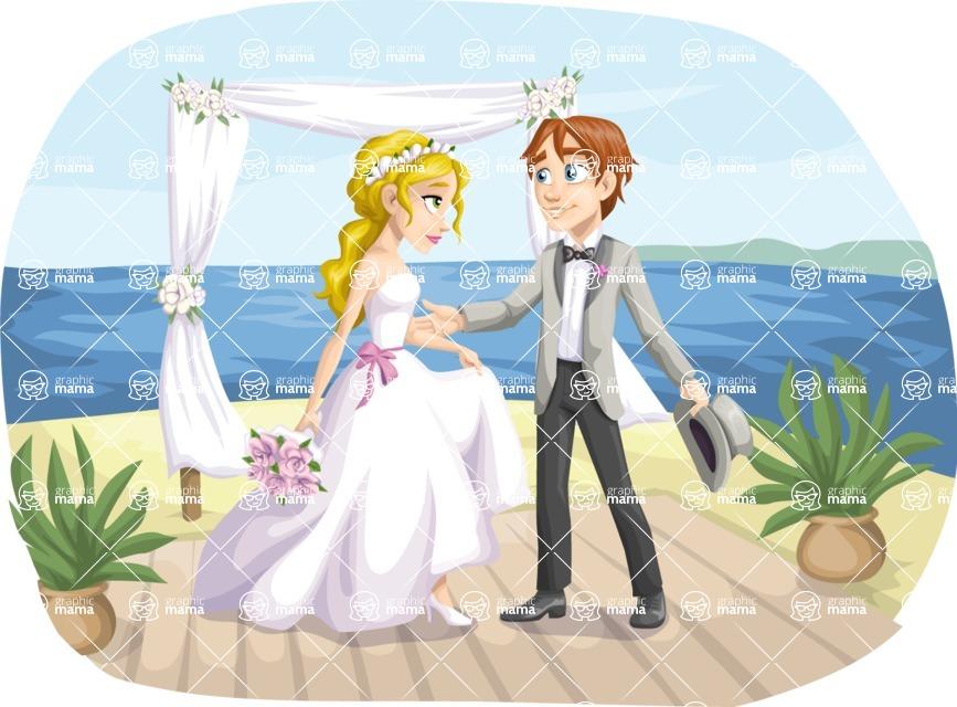 Wedding Vectors - Mega Bundle - Beach Couple at the Altar