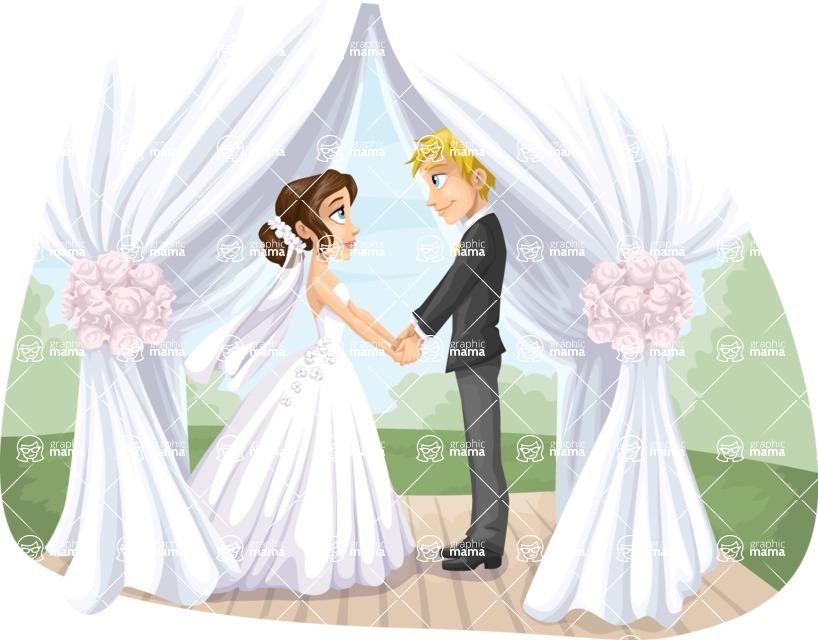 Wedding Vectors - Mega Bundle - Wedding Couple Under a Canopy