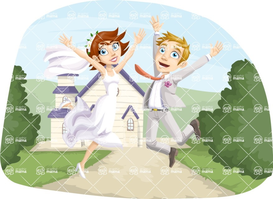 Wedding Vectors - Mega Bundle - Jumping Wedding Couple Outdoors