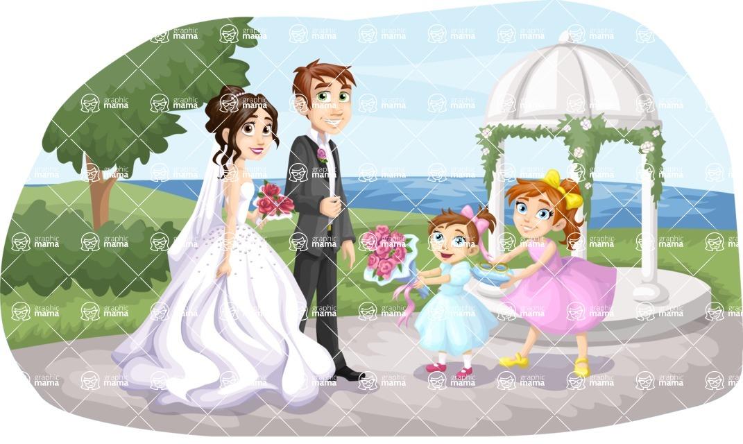 Wedding Vectors - Mega Bundle - Wedding Couple and Kids Outdoors