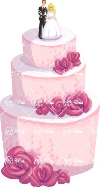Wedding Vectors - Mega Bundle - Wedding Cake with Flowers