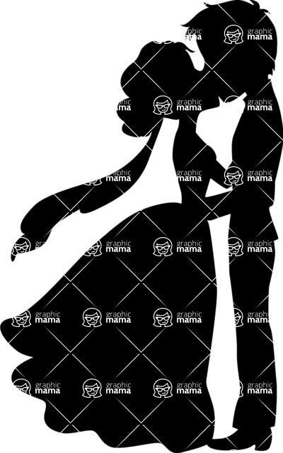 Wedding Vectors - Mega Bundle - Bride and Groom Kissing 1