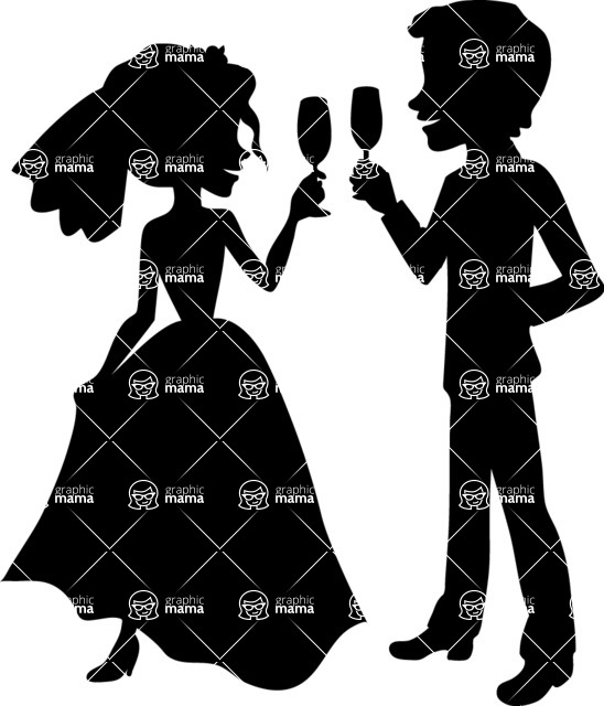 Wedding Vectors - Mega Bundle - Bride and Groom Toasting
