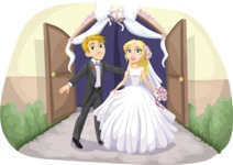 Wedding Vectors - Mega Bundle - Bride and Groom at Gate