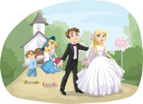 Wedding Vectors - Mega Bundle - Wedding Couple at the Church
