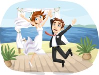 Wedding Vectors - Mega Bundle - Wedding Couple Jumping at the Altar