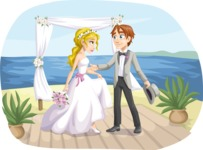 Wedding Vectors - Mega Bundle - Beach Couple at the Altar
