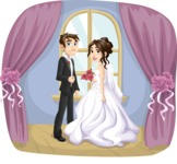 Wedding Vectors - Mega Bundle - Wedding Couple at Arch Window