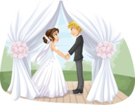 Wedding Vectors - Mega Bundle - Wedding Couple Under a Canopy
