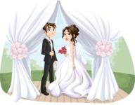 Wedding Vectors - Mega Bundle - Bride and Groom in Wedding Canopy