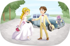 Wedding Vectors - Mega Bundle - Wedding Couple in front of Car