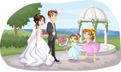 Wedding Vectors - Mega Bundle - Wedding Couple and Kids Outdoors