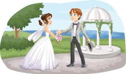 Wedding Vectors - Mega Bundle - Bride and Groom Next to Gazebo