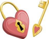 Wedding Vectors - Mega Bundle - Heart Shaped Padlock