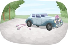 Wedding Vectors - Mega Bundle - Wedding Car in Driveway