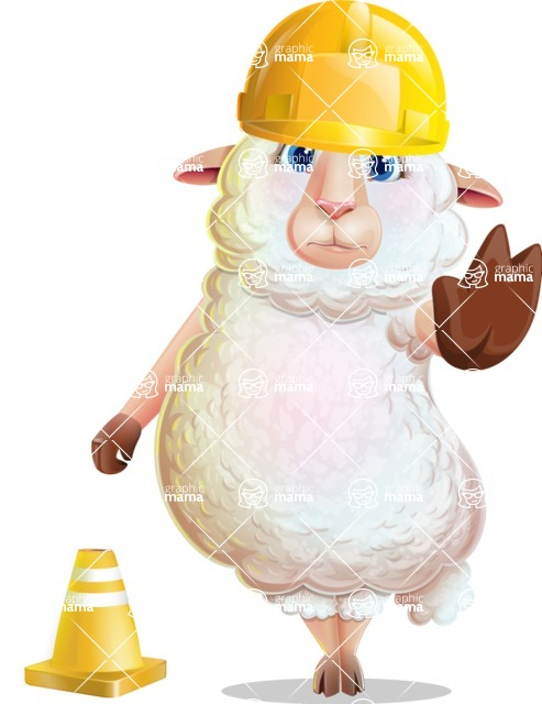 White Sheep Cartoon Vector Character - as a Construction worker