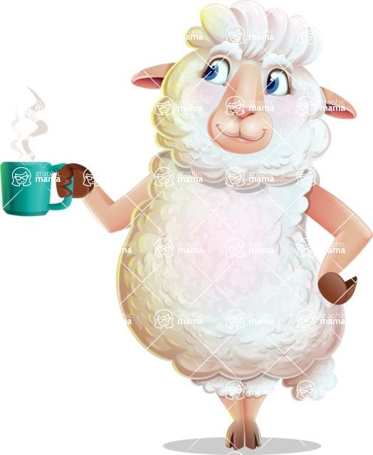 White Sheep Cartoon Vector Character - Drinking Coffee