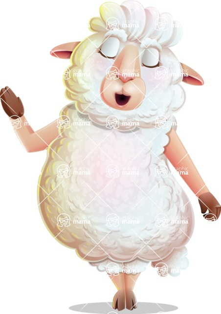 White Sheep Cartoon Vector Character - Feeling Bored