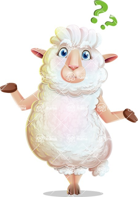 White Sheep Cartoon Vector Character - Feeling Confused
