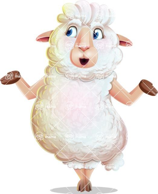 White Sheep Cartoon Vector Character - Feeling Lost