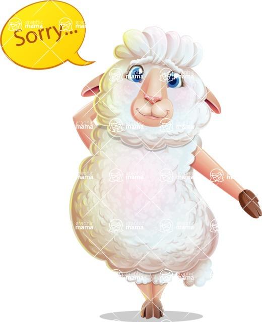 White Sheep Cartoon Vector Character - Feeling sorry