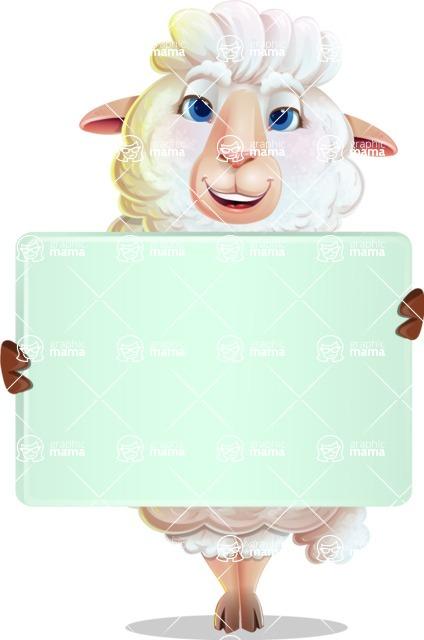 White Sheep Cartoon Vector Character - Holding a Big Blank banner