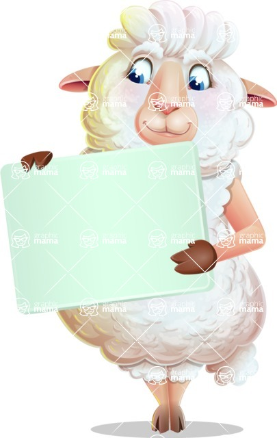 White Sheep Cartoon Vector Character - Holding a Blank sign