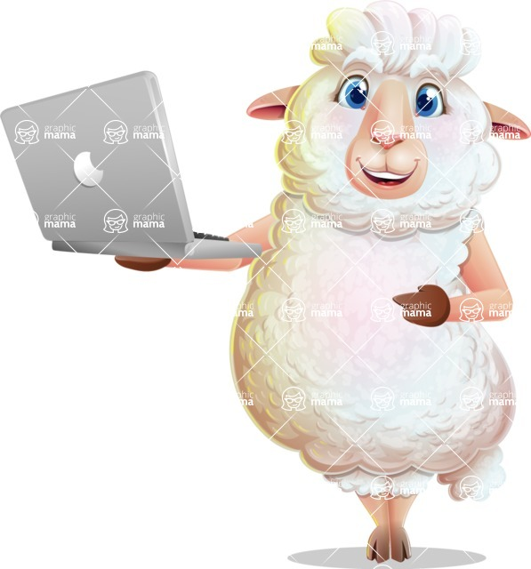 White Sheep Cartoon Vector Character - Holding a laptop
