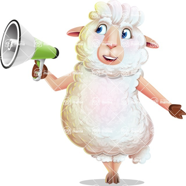 White Sheep Cartoon Vector Character - Holding a Loudspeaker
