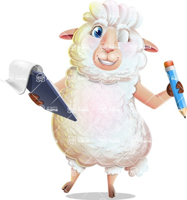 White Sheep Cartoon Vector Character - Holding a notepad with pencil