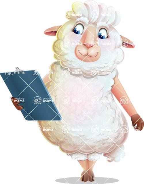 White Sheep Cartoon Vector Character - Holding a notepad