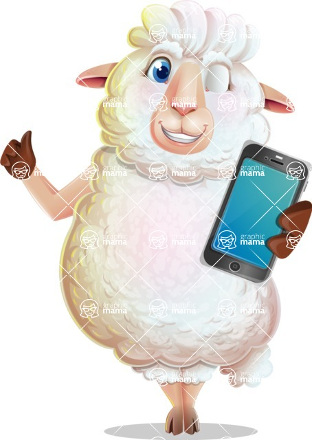 White Sheep Cartoon Vector Character - Holding a smartphone