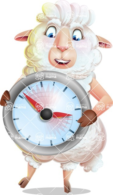 White Sheep Cartoon Vector Character - Holding clock