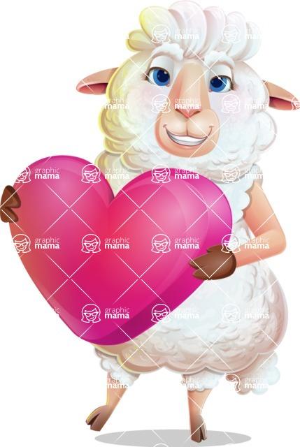 White Sheep Cartoon Vector Character - Holding heart